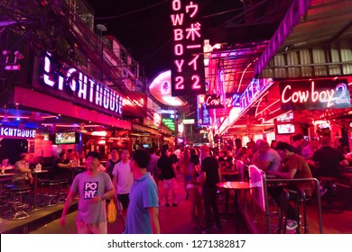 Bangkok, Thailand - Dec 10, 2018: Tourist visited Cowboy street, internationally known as a red light district at the heart of Bangkok's sex industry. Nightlife in Cowboy street, Bangkok, Thailand.