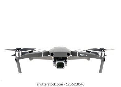 Bangkok, Thailand - Dec 12, 2018: Studio shot of new DJI Mavic 2 pro drone with hasselblad camera. Front view, isolate on white background. Illustrative editorial content