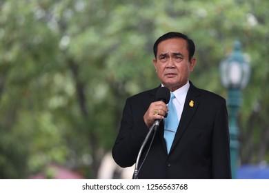 Bangkok, Thailand - Dec 12,2018: Thai prime minister, Prayut Chan-o-cha talks to media at Thai Government House.