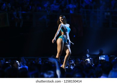 Bangkok, Thailand - Dec 13, 2018: Virginia Limongi of Ecuador poses in swimsuit during the Miss Universe 2018 preliminary round, the final to be held in Bangkok on 17 December