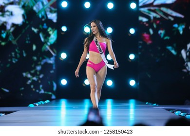 Bangkok, Thailand - Dec 13, 2018: Catriona Gray of Philippines poses in swimsuit during the Miss Universe 2018 preliminary round, the final to be held in Bangkok on 17 December