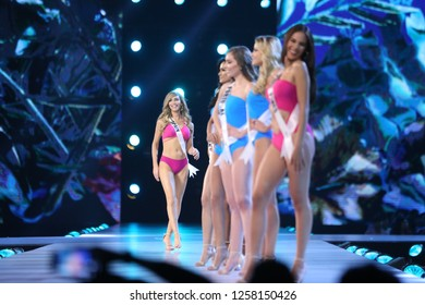 Bangkok, Thailand - Dec 13, 2018: Miss Universe contestants walk on stage during the Miss Universe 2018 preliminary round, the final to be held in Bangkok on 17 December.