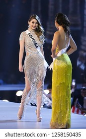 Bangkok, Thailand - Dec 13, 2018: Mariana Garcia of Guatemala competes in the evening gown competition during the Miss Universe 2018 preliminary round, the final to be held in Bangkok on 17 December