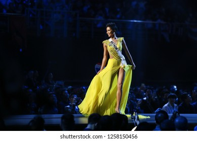 Bangkok, Thailand - Dec 13, 2018: H'Hen Ni of Vietnam competes in the evening gown competition during the Miss Universe 2018 preliminary round, the final to be held in Bangkok on 17 December