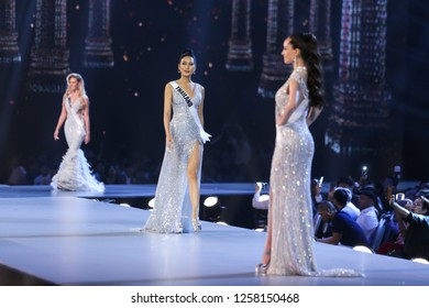 "Bangkok, Thailand - Dec 13, 2018: ""Sophida Karnchanarin"" (C) of Thailand competes in the evening gown competition during the Miss Universe 2018 preliminary round, the final to be held on Dec 17."