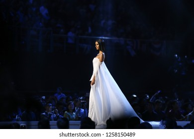 Bangkok, Thailand - Dec 13, 2018: Tamaryn Green of South Africa competes in the evening gown competition during the Miss Universe 2018 preliminary round, the final to be held in Bangkok on 17 Dec.