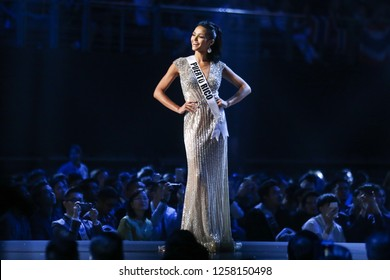 Bangkok, Thailand - Dec 13, 2018: Kiara Ortega of Puerto Rico competes in the evening gown competition during the Miss Universe 2018 preliminary round, the final to be held in Bangkok on 17 December