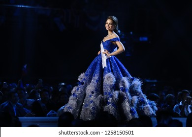 Bangkok, Thailand - Dec 13, 2018: Yulia Polyachikhina of Russia competes in the evening gown competition during the Miss Universe 2018 preliminary round, the final to be held in Bangkok on 17 December
