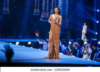 Bangkok, Thailand - Dec 13, 2018: Catriona Gray of Phillipines competes in the evening gown competition during the Miss Universe 2018 preliminary round, the final to be held in Bangkok on 17 December