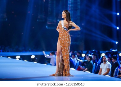 Bangkok, Thailand - Dec 13, 2018: Catriona Gray of Philippines competes in the evening gown competition during the Miss Universe 2018 preliminary round, the final to be held in Bangkok on 17 December