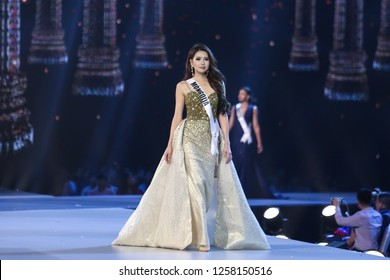 Bangkok, Thailand - Dec 13, 2018: Dolgion Delgerjav of Mongolia competes in the evening gown competition during the Miss Universe 2018 preliminary round, the final to be held in Bangkok on 17 December