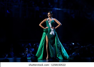 Bangkok, Thailand - Dec 13, 2018: Francesca Mifsud of Malta competes in the evening gown competition during the Miss Universe 2018 preliminary round, the final to be held in Bangkok on 17 December