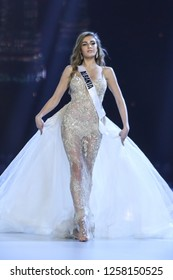 Bangkok, Thailand - Dec 13, 2018: Trejsi Sejdini of Albania competes in the evening gown competition during the Miss Universe 2018 preliminary round, the final to be held in Bangkok on 17 December
