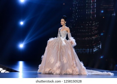 Bangkok, Thailand - Dec 13, 2018: Begimay Karybekova of Kyrgyzstan competes in the evening gown competition during the Miss Universe 2018 preliminary round, the final to be held in Bangkok on 17 Dec