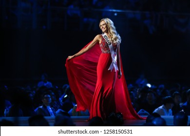 Bangkok, Thailand - Dec 13, 2018: Katrin Lea Elenudottir of Iceland competes in the evening gown competition during the Miss Universe 2018 preliminary round, the final to be held in Bangkok on 17 Dec