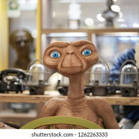 Bangkok, Thailand - Dec 14, 2018 : A fiberglass mascot of E.T. (the Extra-Terrestrial) E.T. is the character of the Steven Spielberg movie (1982).