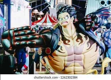 Bangkok, Thailand - Dec 18, 2018 : A real life size figure character mascot of Monkey D. Luffy, a very famous character from One Piece very successful Japanese manga and animation. Free of entry event
