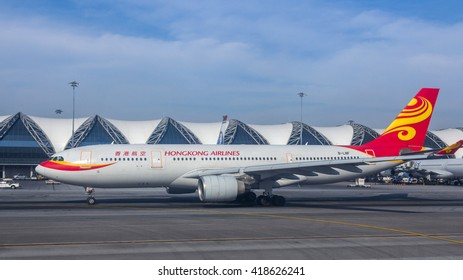 BANGKOK, THAILAND - DEC 20, 2015: Hong Kong Airlines flight in Suvarnabhumi International Airport in Bangkok, Thailand.