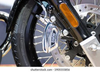 Bangkok Thailand :-  Dec 20, 2020 :- The brake disc front of Motorcycle BMW at Show Room Asia, Bangkok