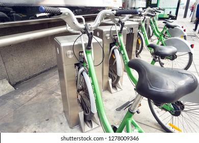 BANGKOK, Thailand - Dec, 2018: Pun Pun Bicycle Sharing System. Bicycle Rental Service in Bangkok.