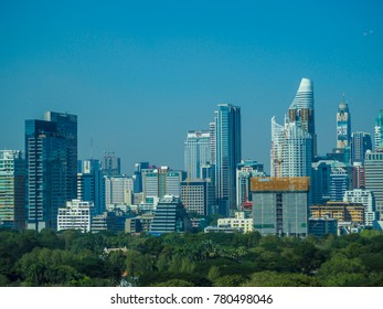 Bangkok, Thailand - Dec 21,2017: Aerial view of Bangkok city with Lumpini park background