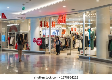 BANGKOK, THAILAND - DEC 28 : The Emquartier Shopping Mall on December 28, 2018 in Bangkok, Thailand. The Emquartier is one of the luxury shopping center in Bangkok.