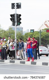Bangkok, Thailand : Dec 31 2017 Unidentified in spiderman suit manages the traffic