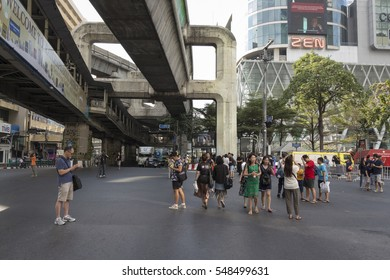 BANGKOK THAILAND - DEC 31 : crowd on off traffic of Ratchaprasong Junction while new year festival on december, 31, 2016, thailand. Ratchaprasong is most activities area of Bangkok