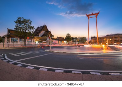 BANGKOK, THAILAND - Dec 4, 2015 : The beauty of Wat Suthat and Sao Ching Cha (Giant Swing) during sunset.