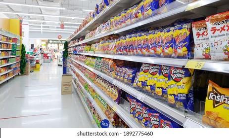 BANGKOK, THAILAND - DEC 5: Tesco Lotus supermarket on December 5, 2020 in Bangkok. Tesco Lotus is a popular local supermarket in Bangkok.