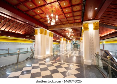 Bangkok, Thailand - DEC 8, 2016: Decoration of concourse level at Sanam Chai MRT station. A design was simplify from interior of throne hall.