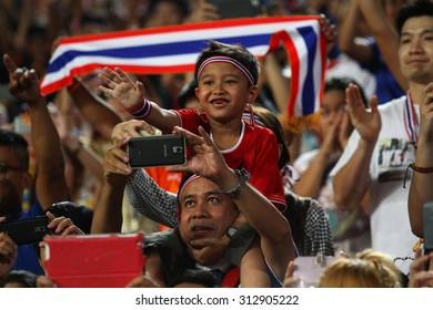 BANGKOK THAILAND DEC10:Unidentified fans of Thailand supporters during the AFF Suzuki Cup 2014 Match between Thailand and Philippines at Rajamangala Stadium on December 10,2014 in Thailand.