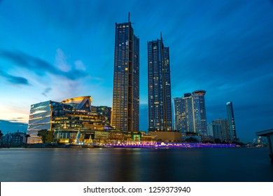 BANGKOK, THAILAND - Dec.15, 2018 : The IconSiam, one of the newest shopping mall on the bank of Chaopraya river with Magnolias Waterfront Residences buildings