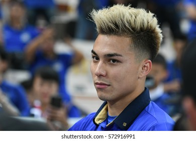 BANGKOK THAILAND DEC17:Charyl Chappuis of Thailand in action during the AFF SUZUKI CUP 2016 FINAL ROUNDS Match Thailand and Indonesia at Rajamangala Stadium on December 17,2016 in Thailand.