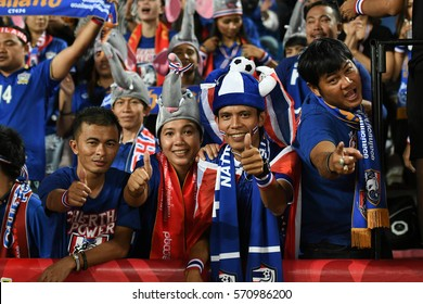 BANGKOK THAILAND DEC17:Unidentified fans of Thailand supporters during the AFF SUZUKI CUP 2016 FINAL ROUNDS Match Thailand and Indonesia at Rajamangala Stadium on December 17,2016 in Thailand.
