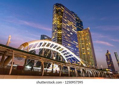 BANGKOK, THAILAND - DEC.5, 2018 : Night scene of Chong Nonsee skywalk during blue hour
