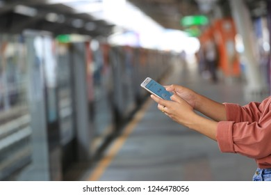 Bangkok, Thailand : December 01, 2018,Woman hand using Samsung galaxy J7 Plus with Google search home page on BTS sky train in bangkok, thailand, typing message or checking newsfeed on social networks