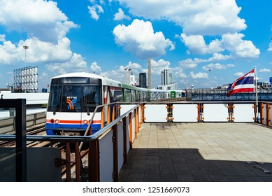 BANGKOK, THAILAND - December 02, 2018 : Image Of The Bangkok Mass Transit System Or BTS The Sky Train At Victory Monument Station, The BTS Skytrain Runs Through All Important Downtown In Bangkok