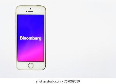 Bangkok, Thailand - DECEMBER 05, 2017: Isolated Smartphone with Bloomberg Application on the Screen