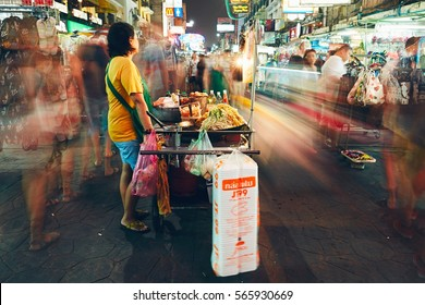 BANGKOK, THAILAND - DECEMBER 06, 2015: Nightlife on the Khao San Road. Vendors and shops on the famous backpacker street on December 6, 2015 in central Bangkok.