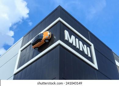 BANGKOK, THAILAND - DECEMBER 07: Mini Cooper car on Millennium auto building display on December 07, 2014. Millennium auto is a Mini authorized dealer in Thailand.