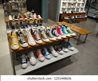 Bangkok, Thailand. December 1, 2018 - converse sport shoes display in shopping mall. sports shoes marketing concept.