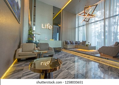 Bangkok, Thailand - December 1, 2018: A Lobby of Life Sukhumvit 48 Condominium in Bangkok