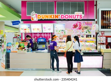 BANGKOK, THAILAND - DECEMBER 1 : Exterior view of Dunkin Donuts Shop on December 1, 2014 in Bangkok, Thailand. Dunkin Donuts has over 15,000 restaurants in more than 30 countries.