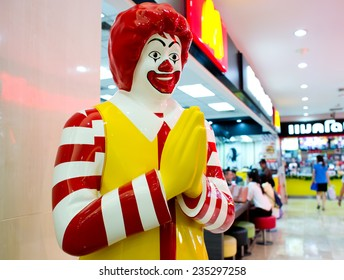 BANGKOK, THAILAND - DECEMBER 1: Mascot of a McDonald's Restaurant on December 1, 2014 in Bangkok, Thailand. It is the world's largest chain of hamburger fast food restaurants.