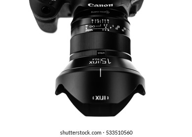 BANGKOK, THAILAND - DECEMBER 10, 2016: Close-Up on the New DSLR Canon 5D Mark IV with IRIX 15mm F2.4 lens on a white background