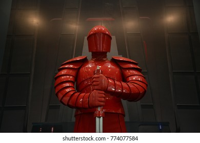 Bangkok, Thailand - December 10, 2017: Human Size The Supreme Leader Snoke's Praetorian Guard Model from Star Wars Episode VIII The Last Jedi at the theater