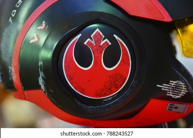 Bangkok, Thailand - December 10, 2017: Star Wars Rebel Alliance Symbol at Poe Dameron The Black Series Electronic X-Wing Pilot Helmet