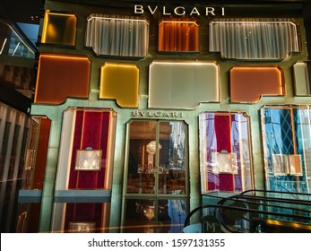 Bangkok, Thailand. December 10, 2019 - Bvlgari fashion house in shopping mall. Bvlgari is an Italian jewelry and luxury product brand for woman.