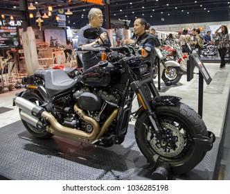 Bangkok, Thailand - December 11, 2017: Harley Davidson Fat Bob presented in Motor Expo 2017